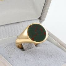 Antique Victorian 18Ct Gold Signet Ring With Round Bloodstone